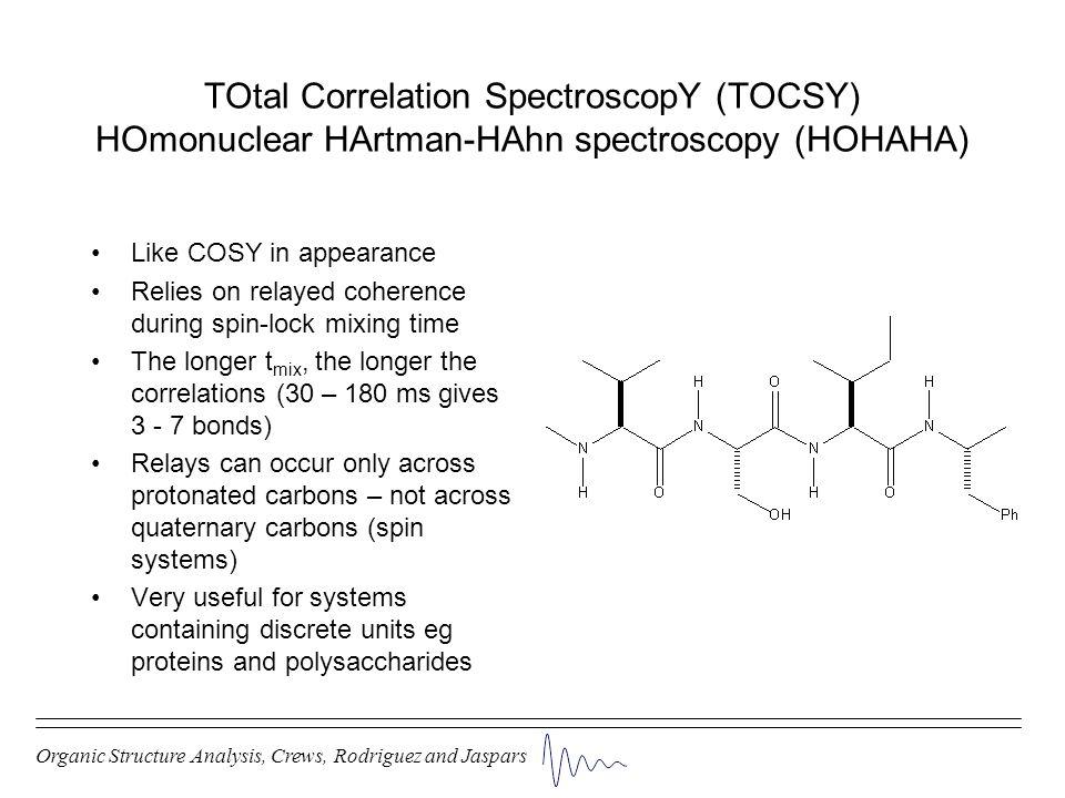 TOtal Correlation SpectroscopY (TOCSY) HOmonuclear HArtman-HAhn spectroscopy (HOHAHA)