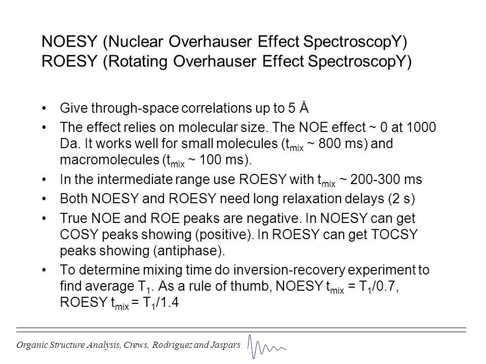 NOESY (Nuclear Overhauser Effect SpectroscopY) ROESY (Rotating Overhauser Effect SpectroscopY)