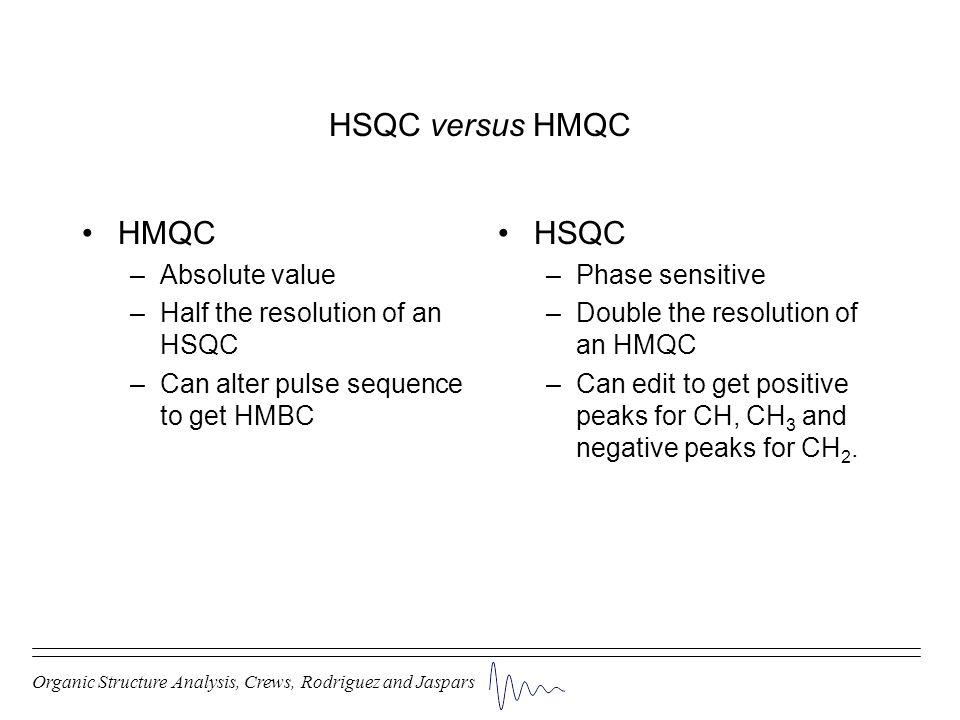 HSQC versus HMQC HMQC HSQC Absolute value