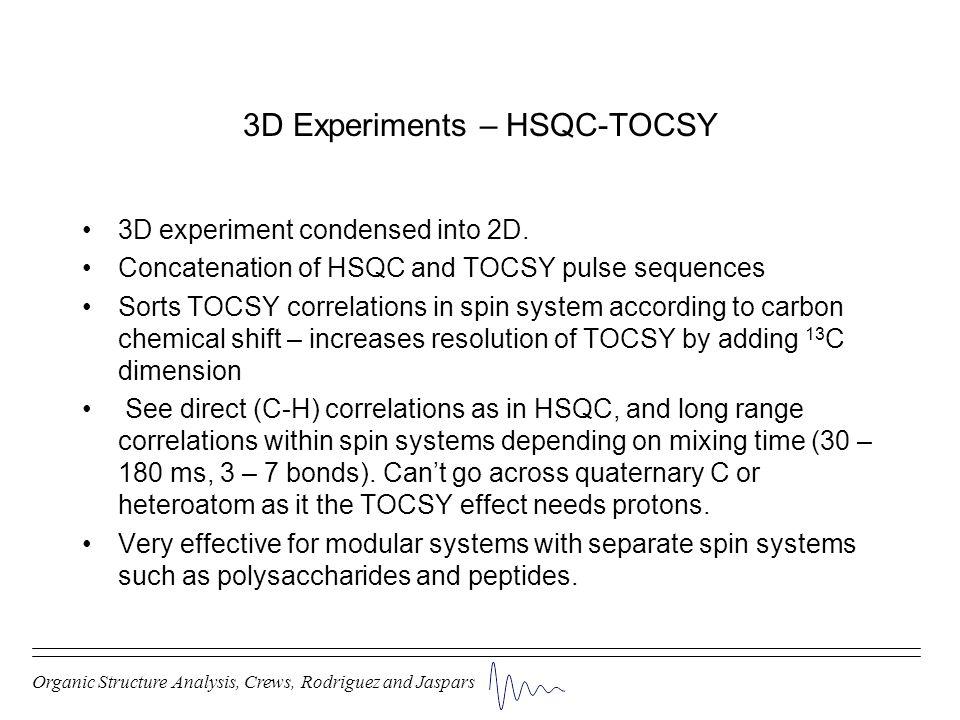 3D Experiments – HSQC-TOCSY