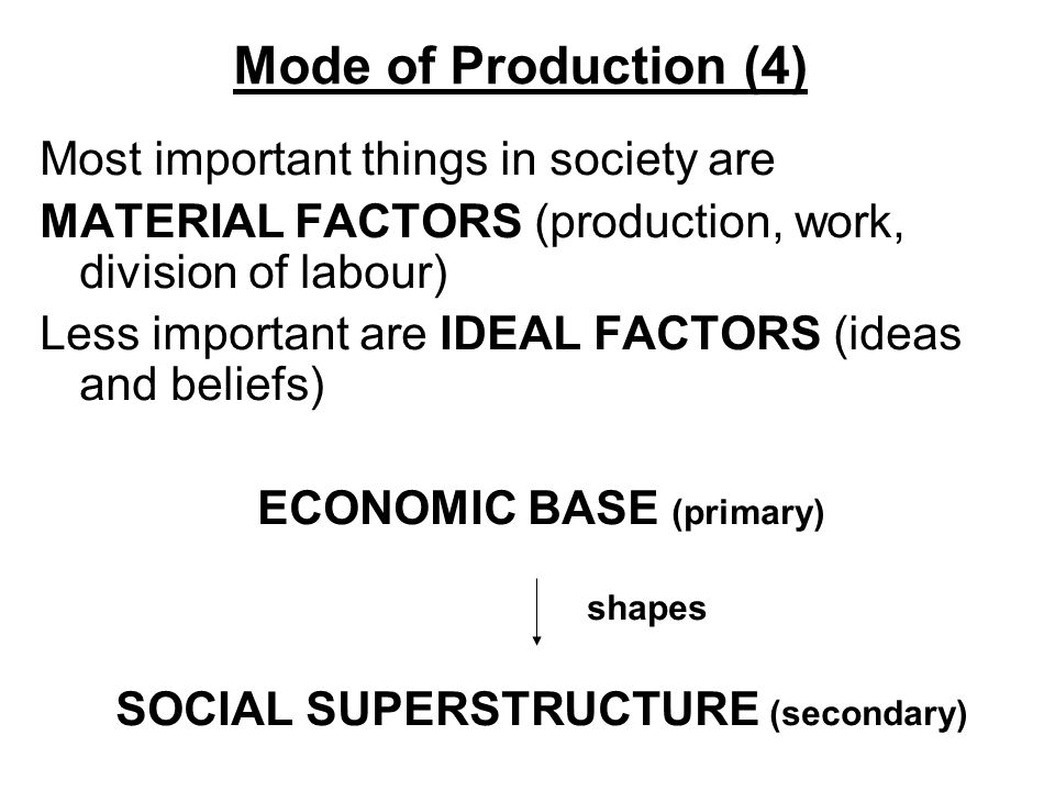 ECONOMIC BASE (primary) SOCIAL SUPERSTRUCTURE (secondary)