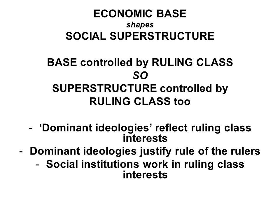 SOCIAL SUPERSTRUCTURE BASE controlled by RULING CLASS SO