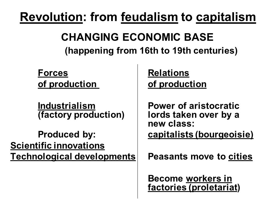 Revolution: from feudalism to capitalism