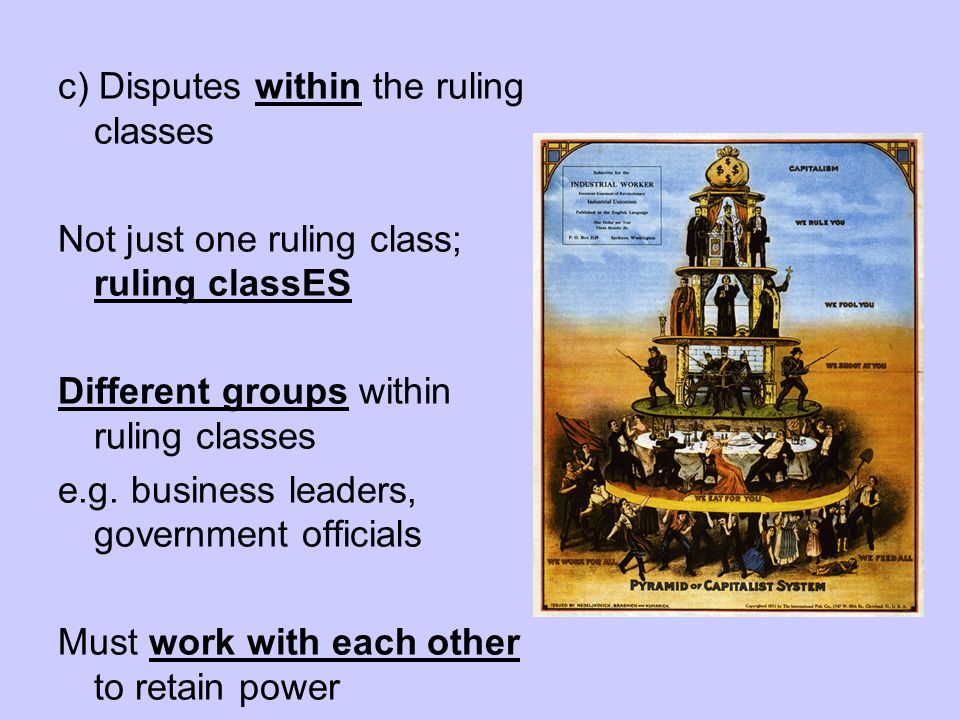 c) Disputes within the ruling classes