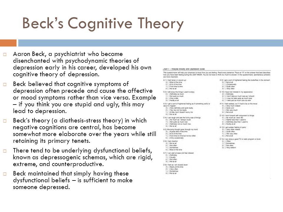 becks cognitive theory of depression essay 2018-8-13  comparative efficacy of cognitive therapy and pharmacotherapy in the treatment  and depression: ii theory and  b f cognitive approaches to depression.