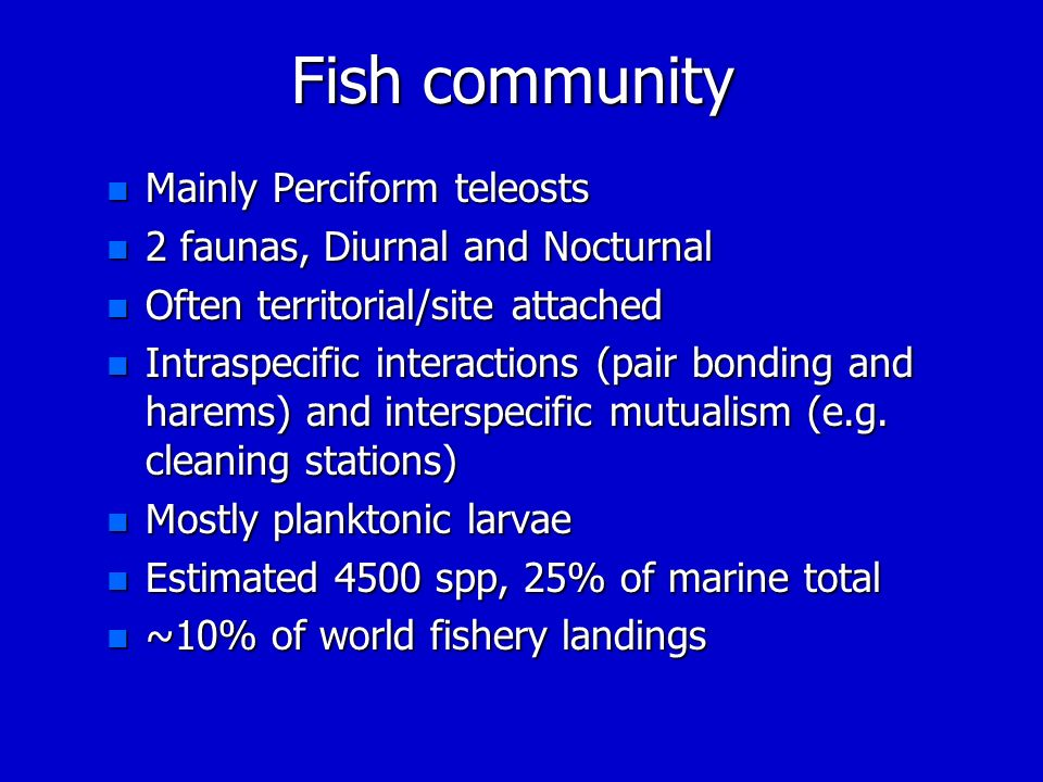 Fish community Mainly Perciform teleosts