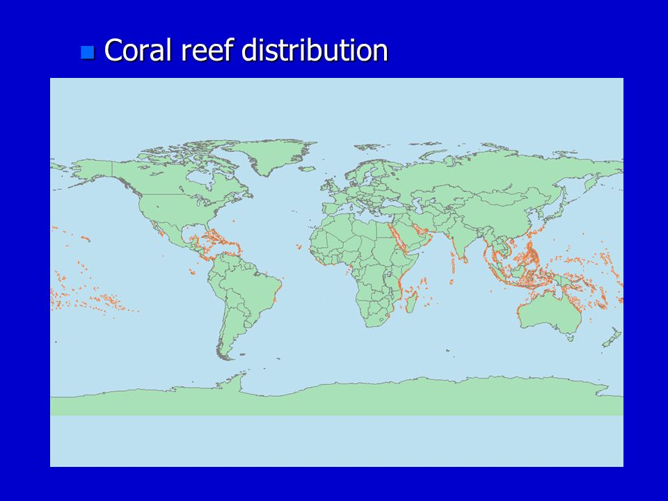 Coral reef distribution