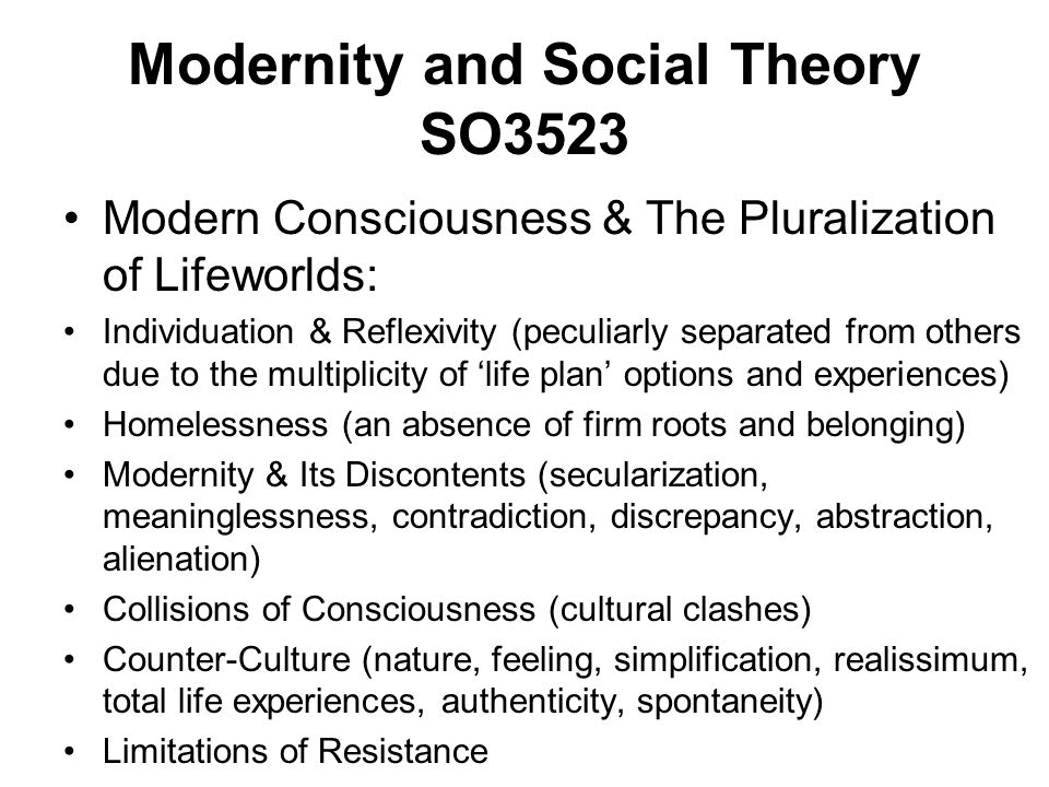 Modernity and Social Theory SO3523