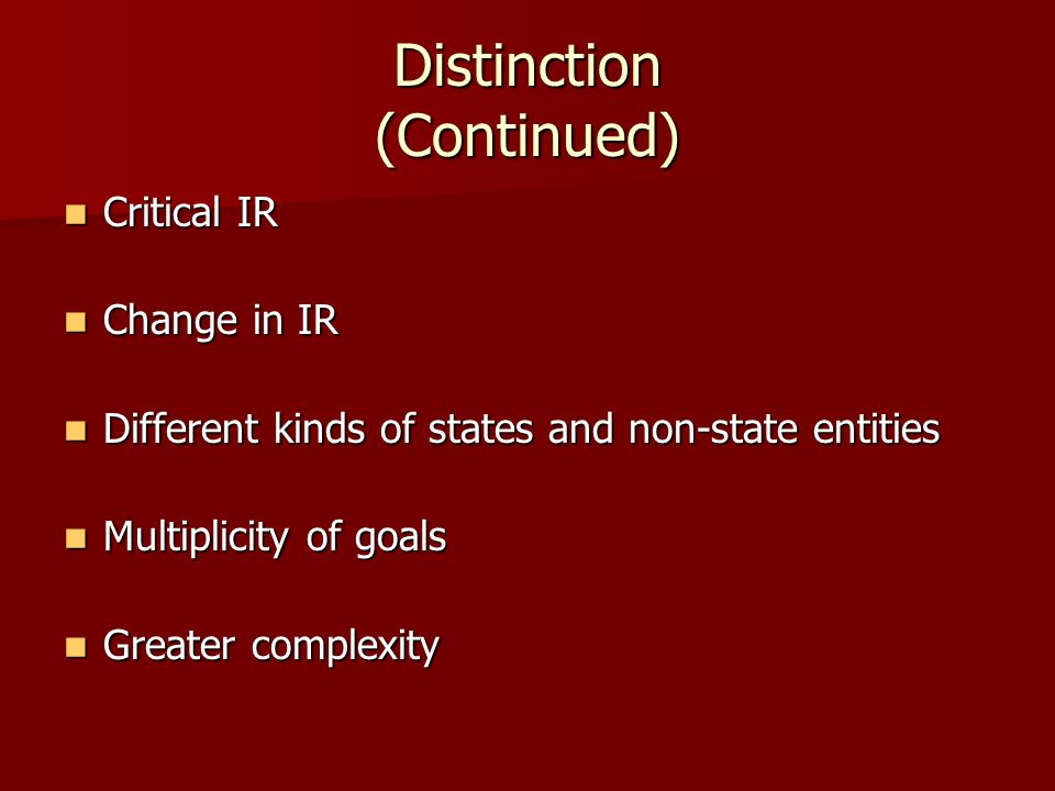 Distinction (Continued)