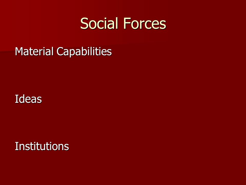 Social Forces Material Capabilities Ideas Institutions