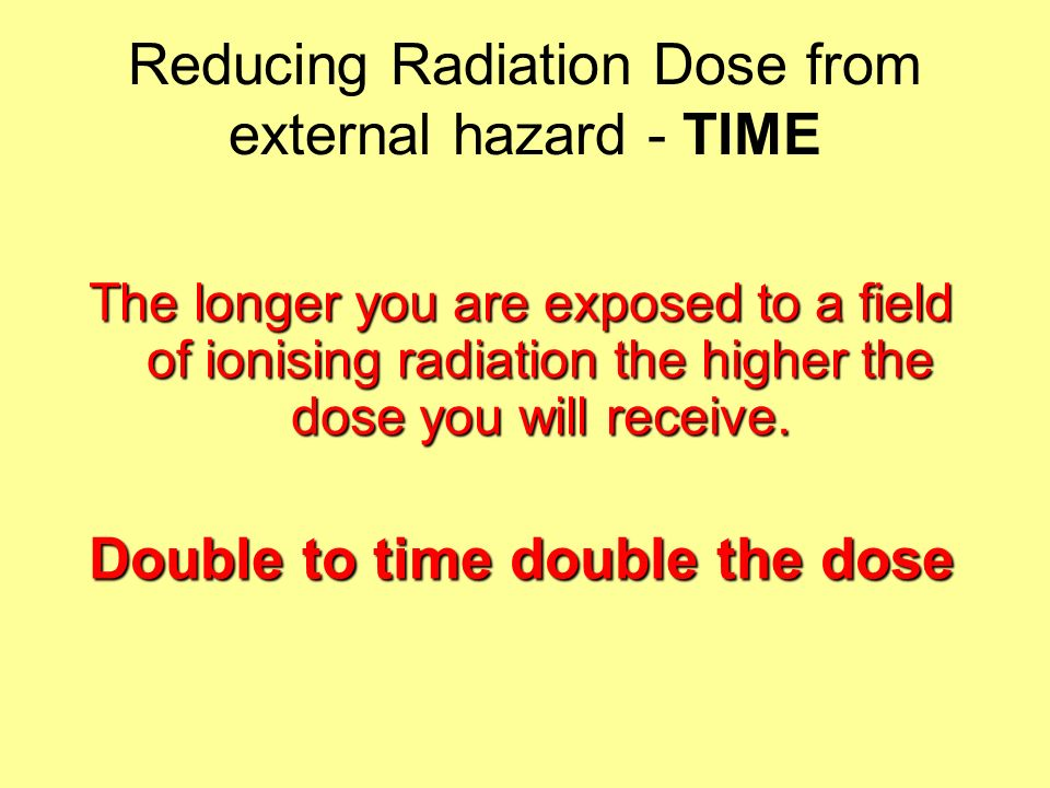 Reducing Radiation Dose from external hazard - TIME