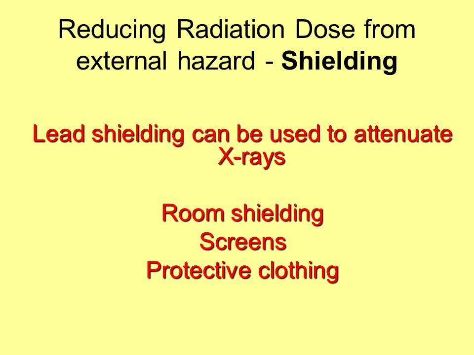 Reducing Radiation Dose from external hazard - Shielding