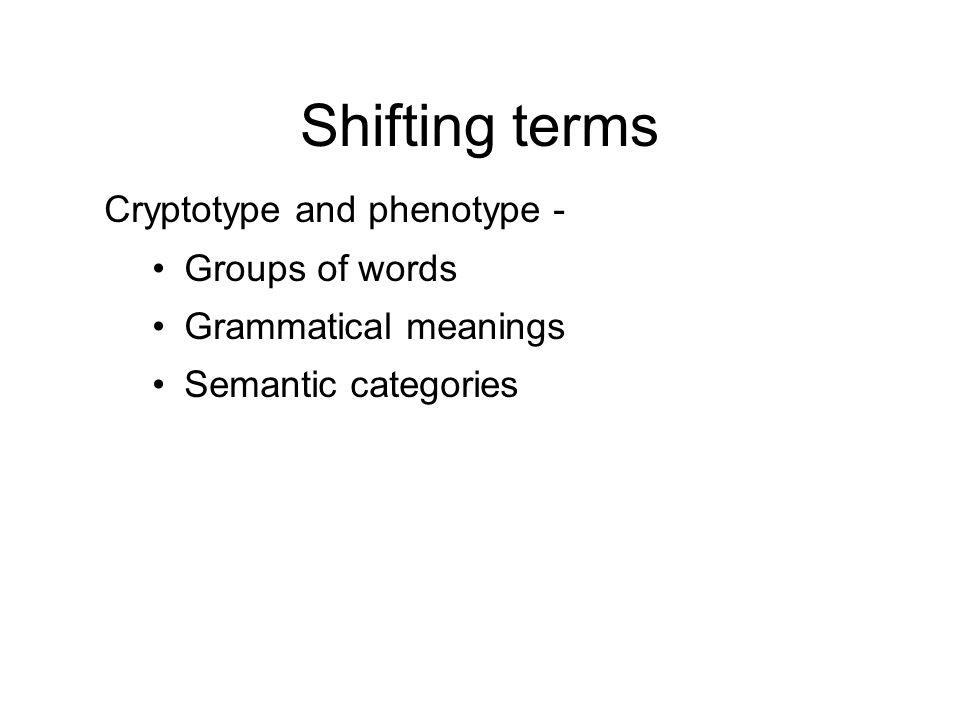 Shifting terms Cryptotype and phenotype - Groups of words