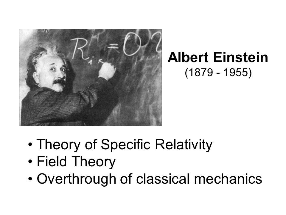 Albert Einstein (1879 - 1955) Theory of Specific Relativity.