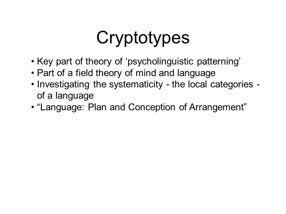 Cryptotypes Key part of theory of 'psycholinguistic patterning'