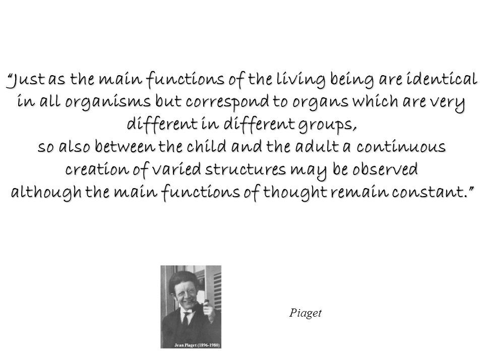 Just as the main functions of the living being are identical in all organisms but correspond to organs which are very different in different groups, so also between the child and the adult a continuous creation of varied structures may be observed although the main functions of thought remain constant.