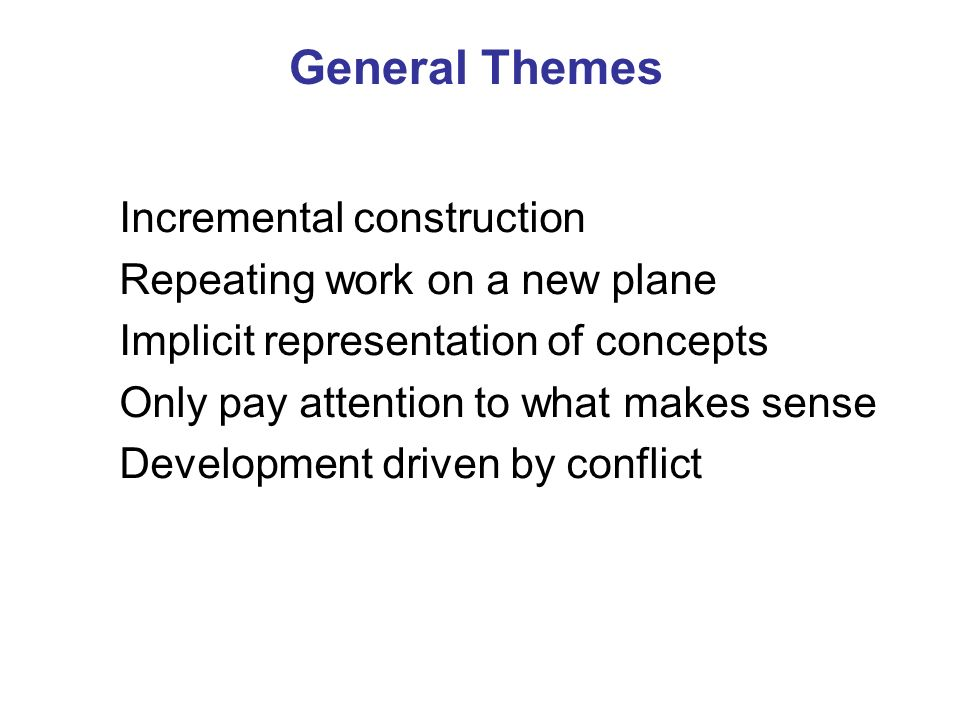General Themes Incremental construction Repeating work on a new plane