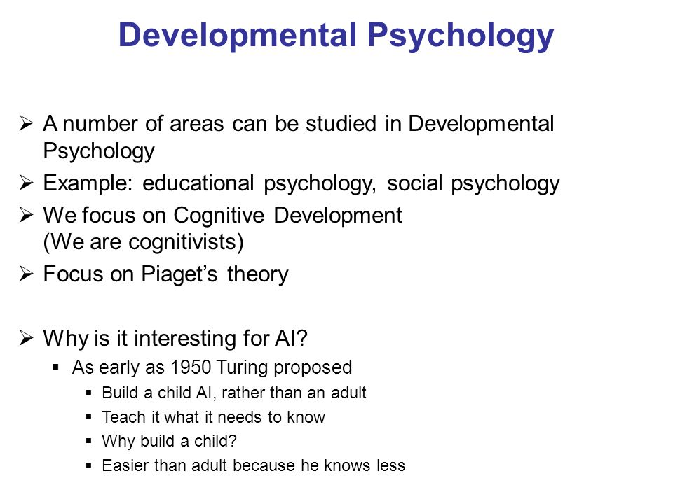 An introduction to the analysis of the developmental psychology