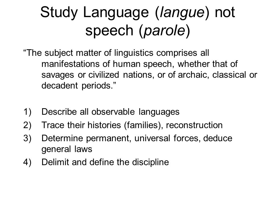 Study Language (langue) not speech (parole)