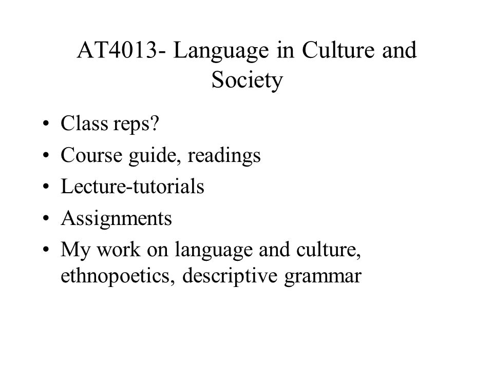 AT4013- Language in Culture and Society