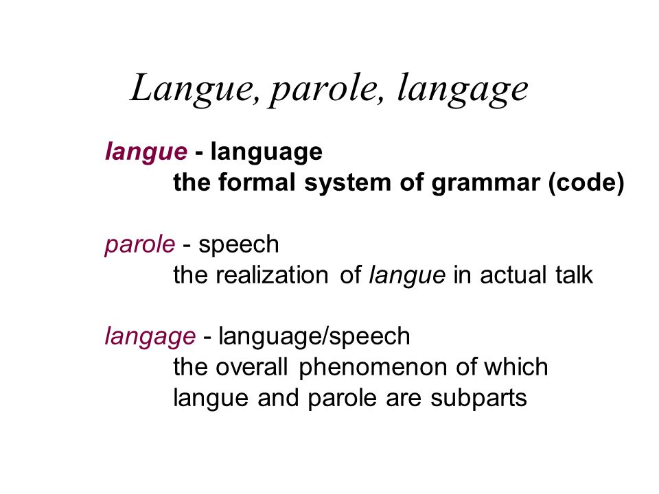 Langue, parole, langage langue - language