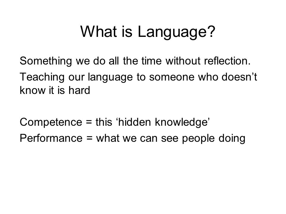 What is Language Something we do all the time without reflection.