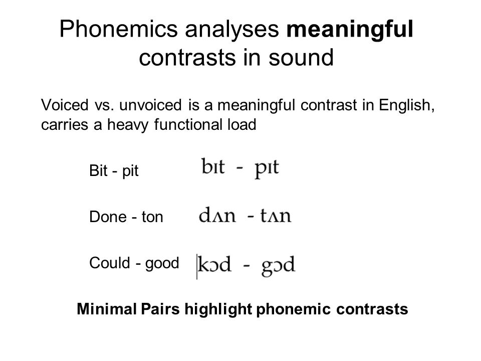Phonemics analyses meaningful contrasts in sound