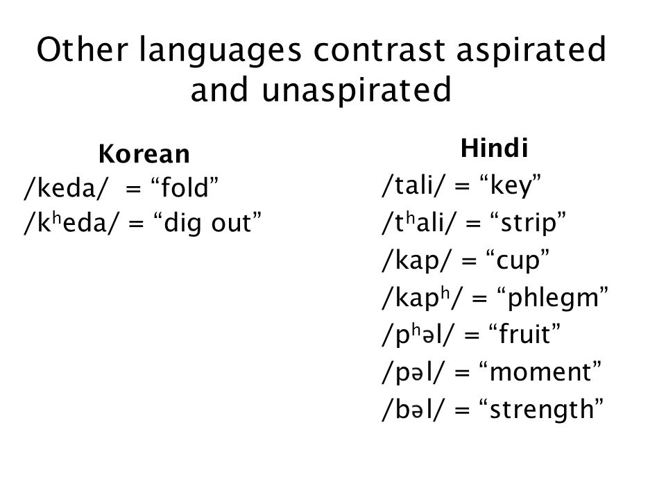 Other languages contrast aspirated and unaspirated