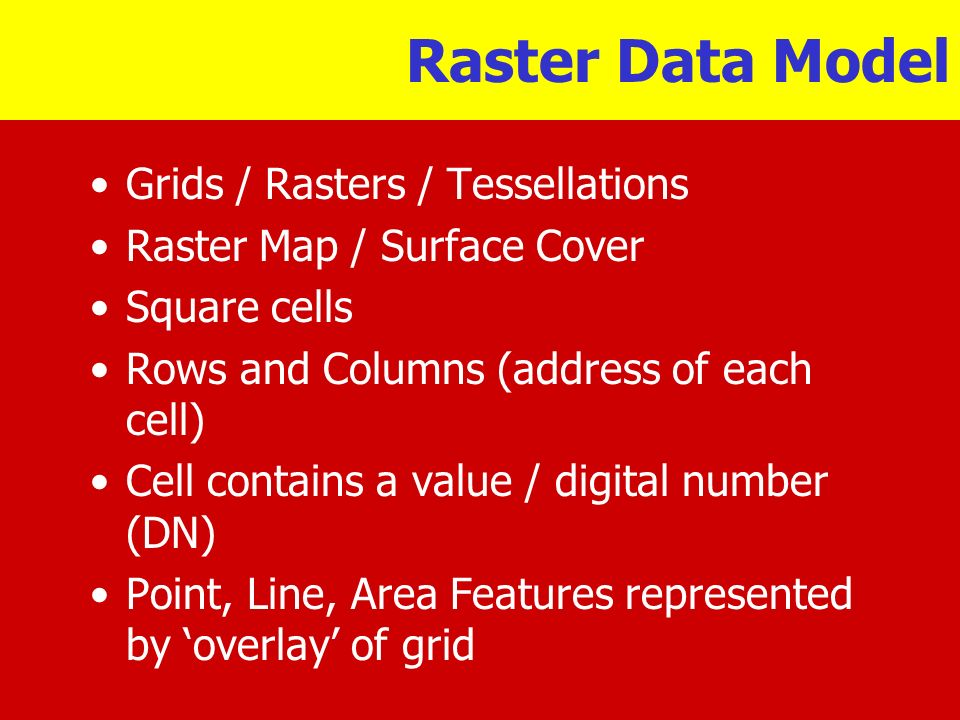 Raster Data Model Grids / Rasters / Tessellations