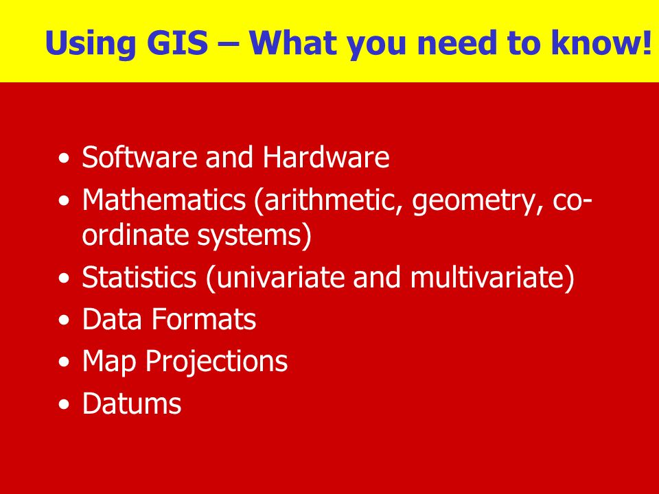 Using GIS – What you need to know!
