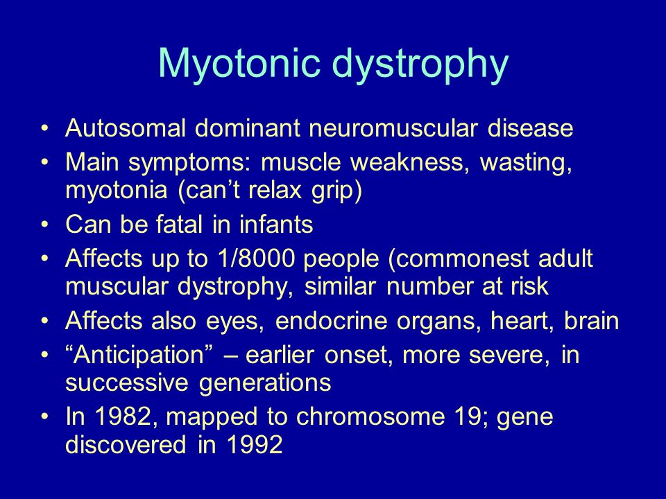 Myotonic dystrophy Autosomal dominant neuromuscular disease