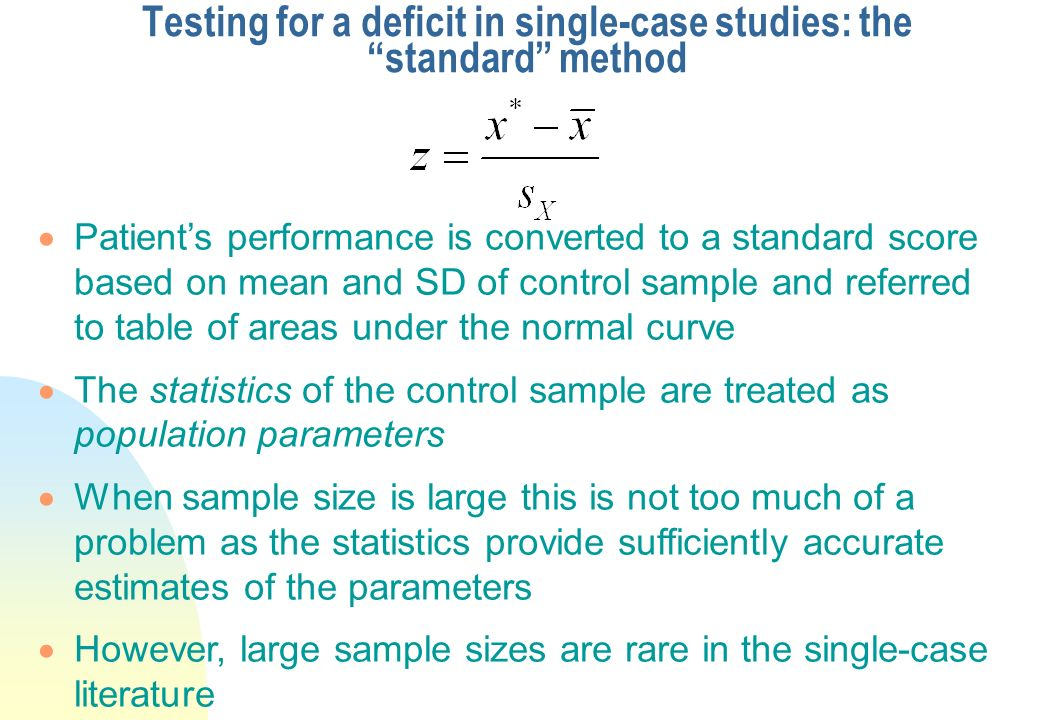 Testing for a deficit in single-case studies: the standard method