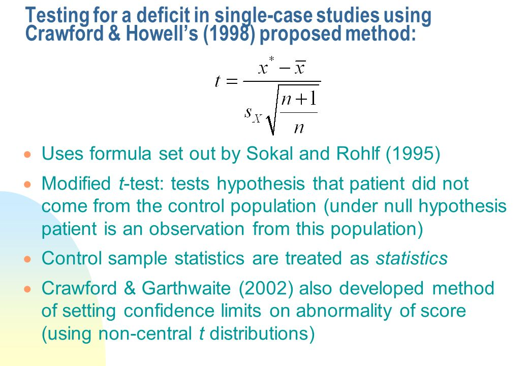 Testing for a deficit in single-case studies using Crawford & Howell's (1998) proposed method: