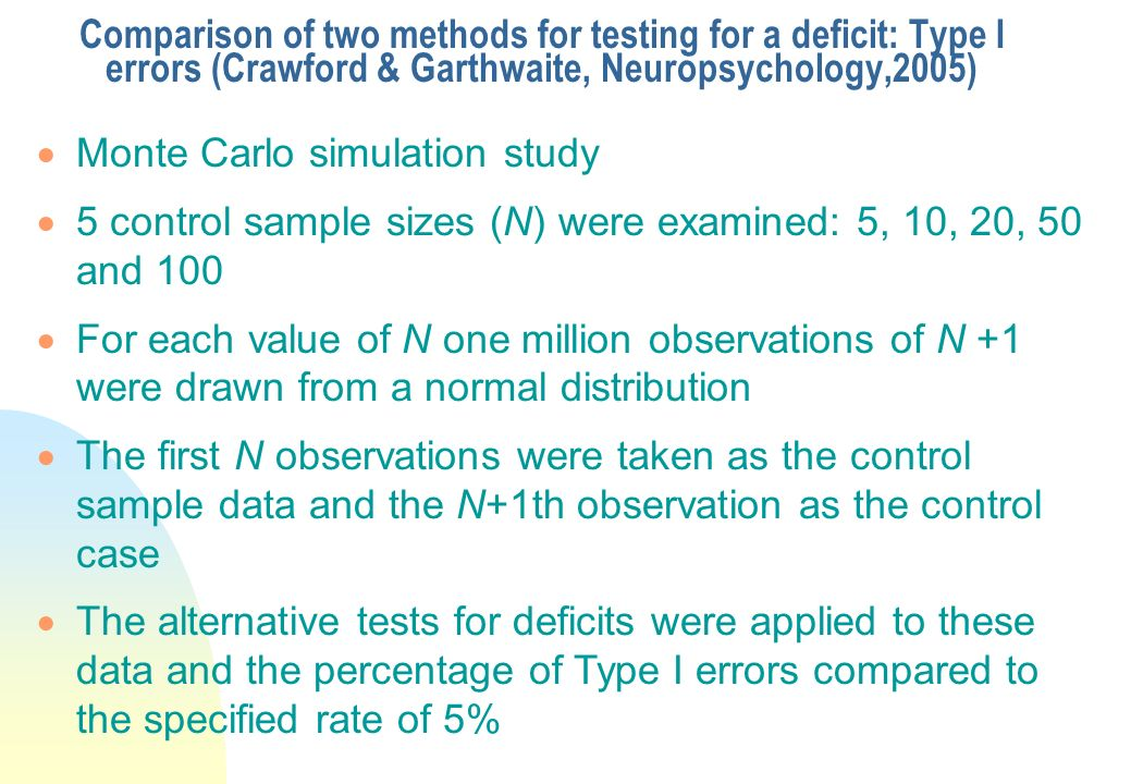 Comparison of two methods for testing for a deficit: Type I errors (Crawford & Garthwaite, Neuropsychology,2005)