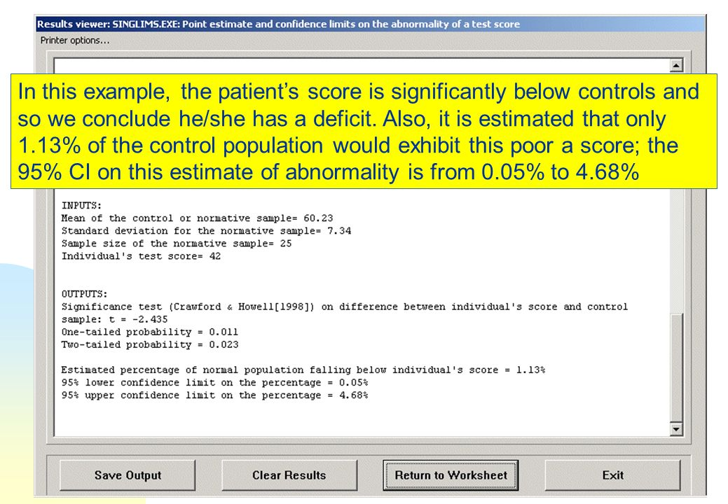 In this example, the patient's score is significantly below controls and so we conclude he/she has a deficit.