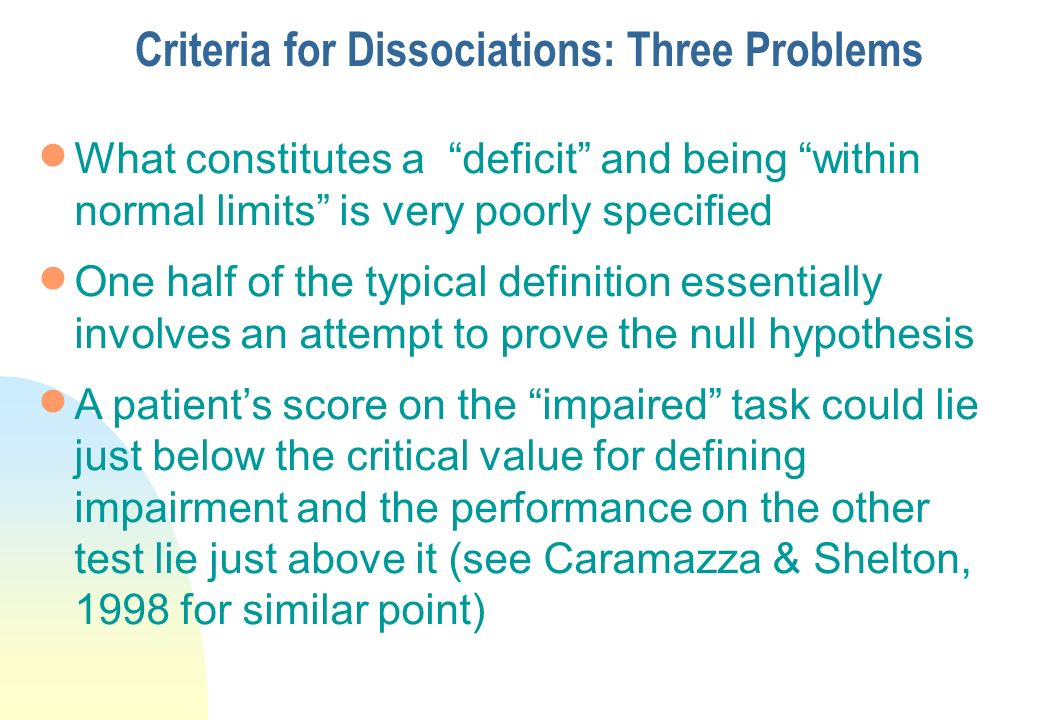 Criteria for Dissociations: Three Problems