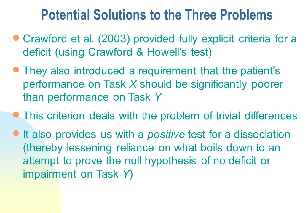 Potential Solutions to the Three Problems