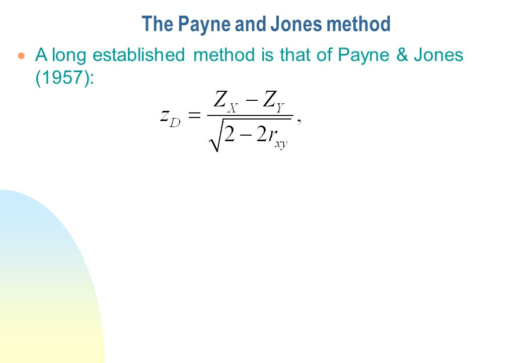 The Payne and Jones method