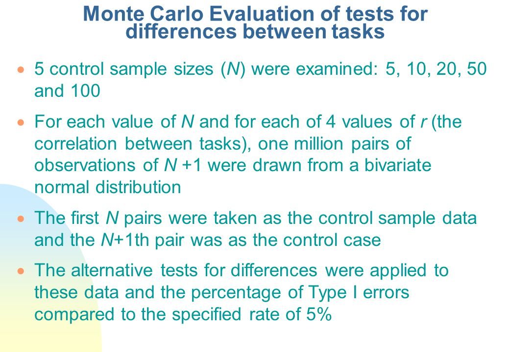 Monte Carlo Evaluation of tests for differences between tasks