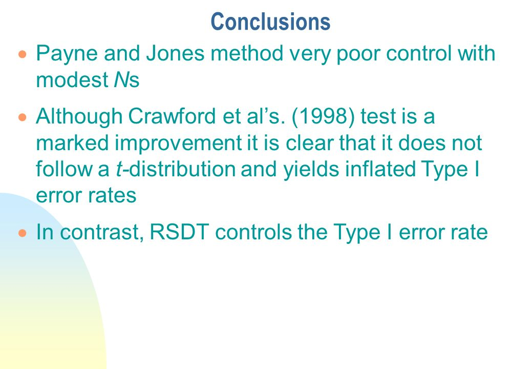 Conclusions Payne and Jones method very poor control with modest Ns
