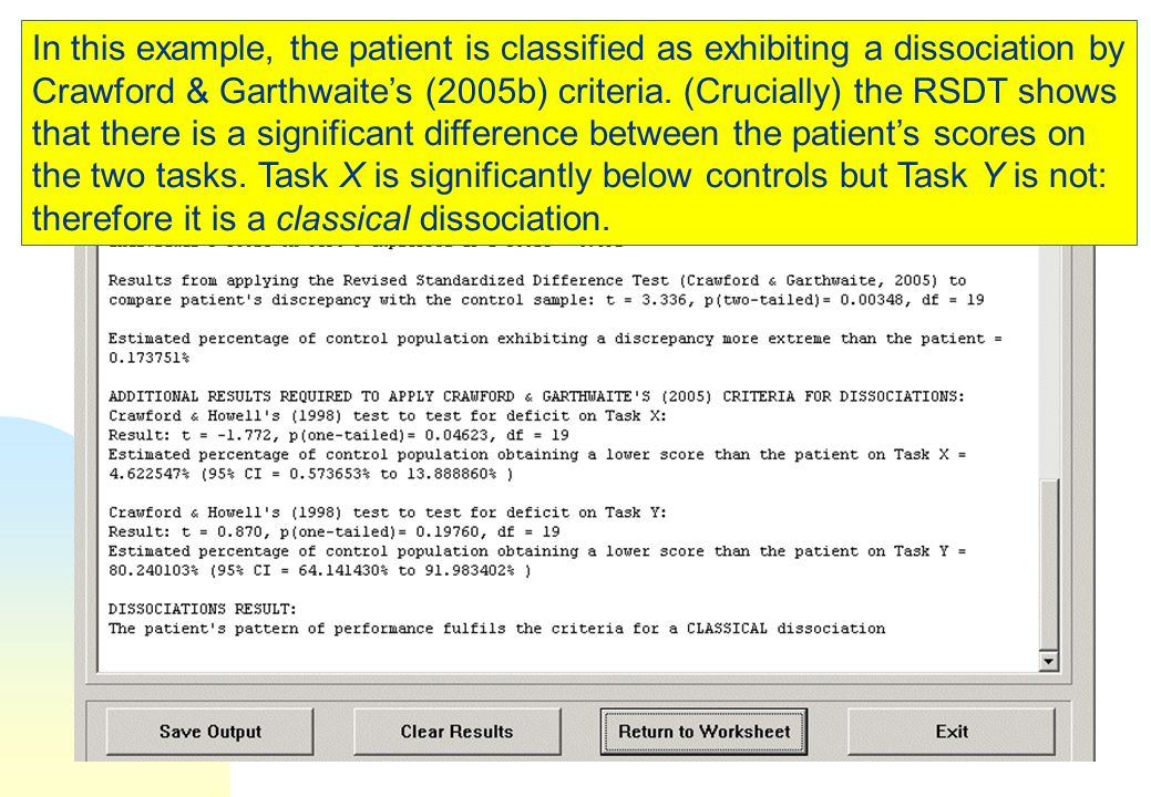 In this example, the patient is classified as exhibiting a dissociation by Crawford & Garthwaite's (2005b) criteria.
