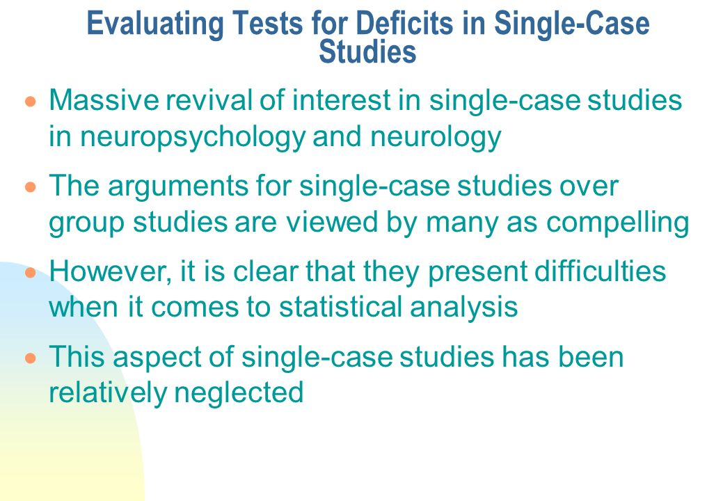 Evaluating Tests for Deficits in Single-Case Studies