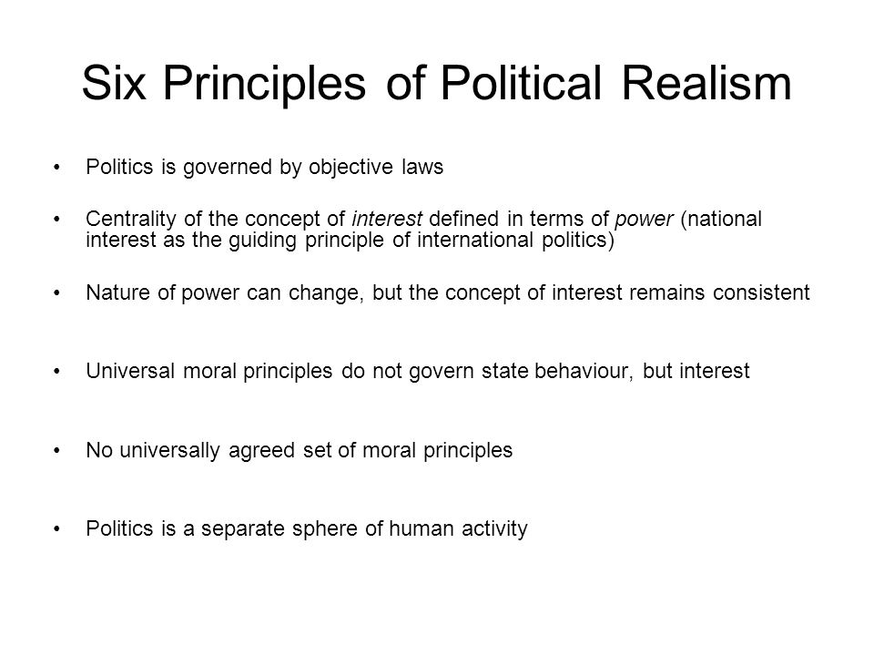 Six Principles of Political Realism