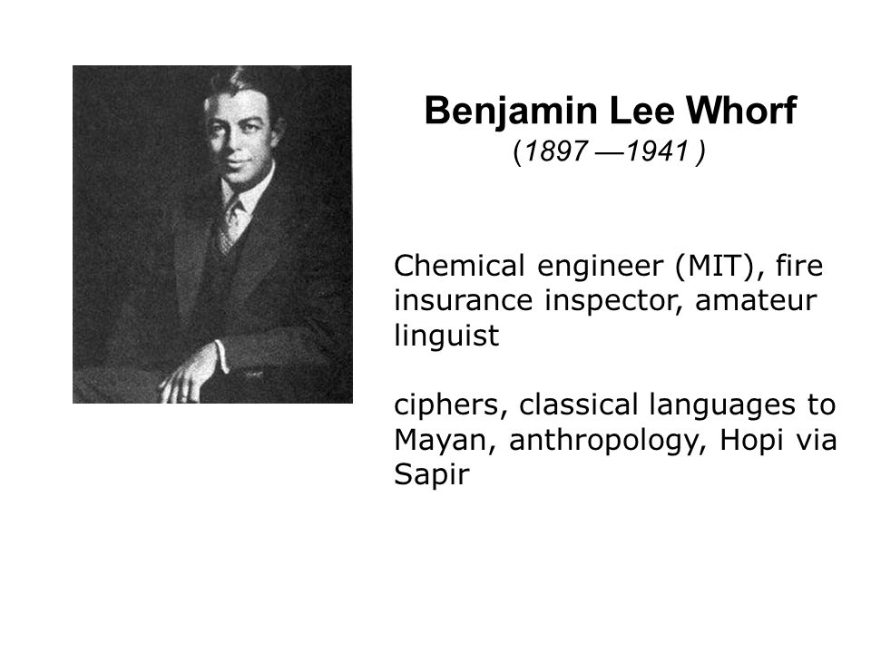 Benjamin Lee Whorf (1897 —1941 ) From Carroll's introduction:
