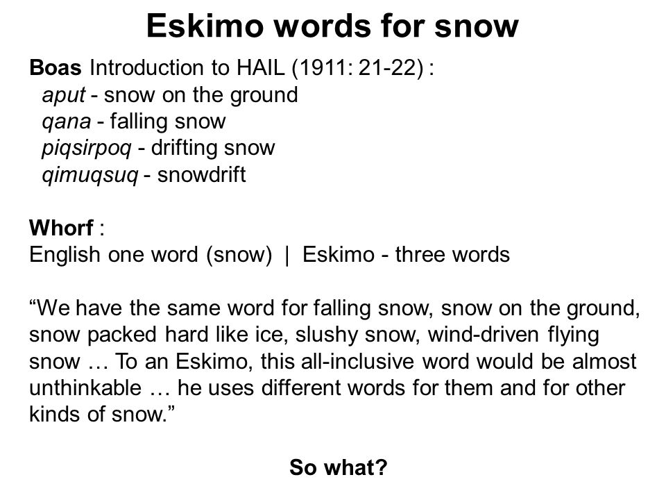 Eskimo words for snow Boas Introduction to HAIL (1911: 21-22) :