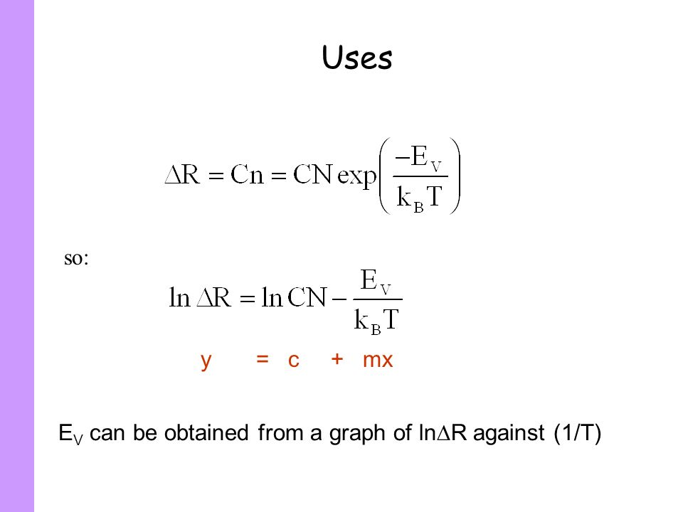 Uses so: y = c + mx EV can be obtained from a graph of lnR against (1/T)