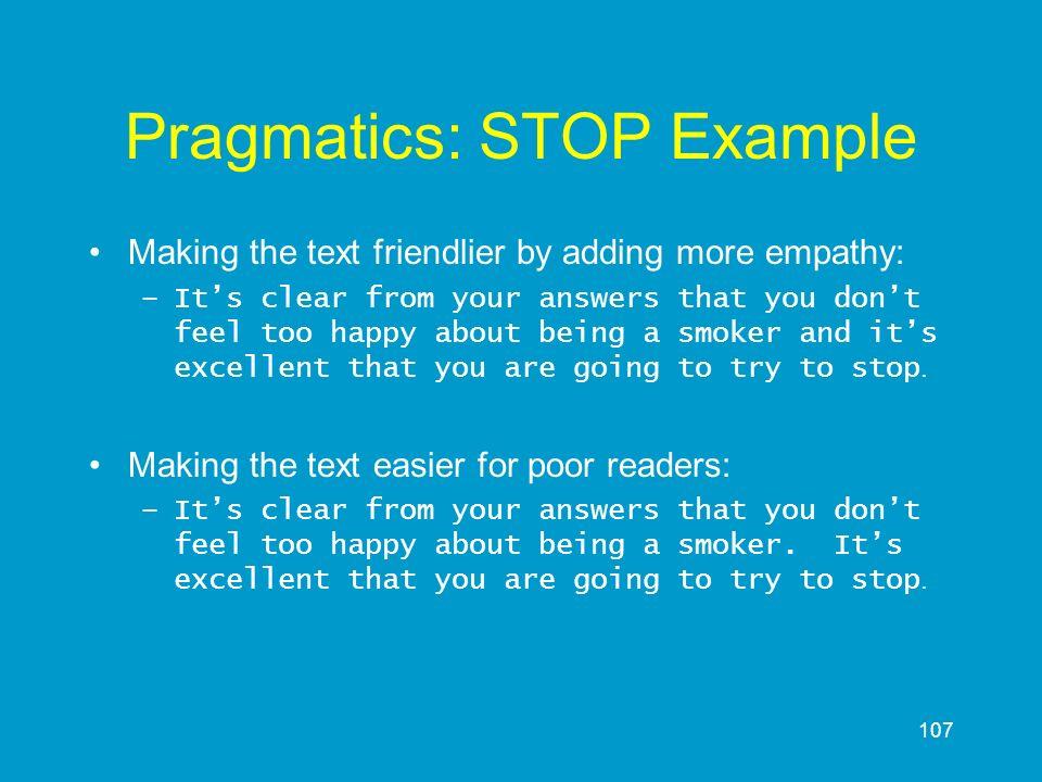 Pragmatics: STOP Example