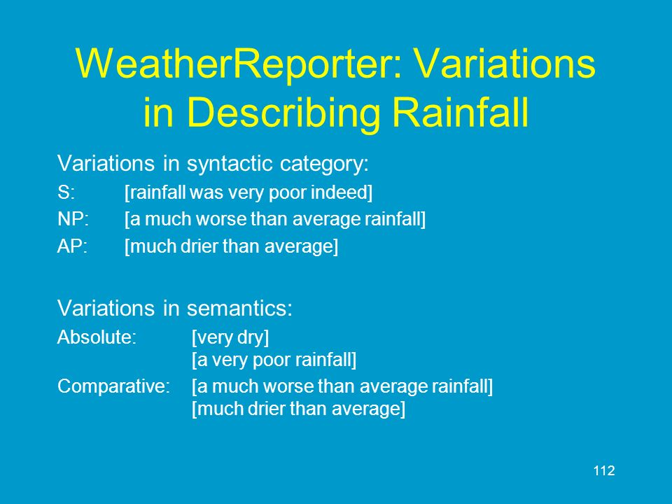 WeatherReporter: Variations in Describing Rainfall