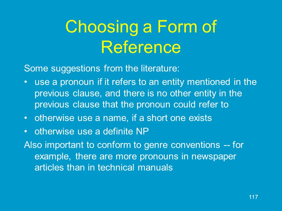 Choosing a Form of Reference