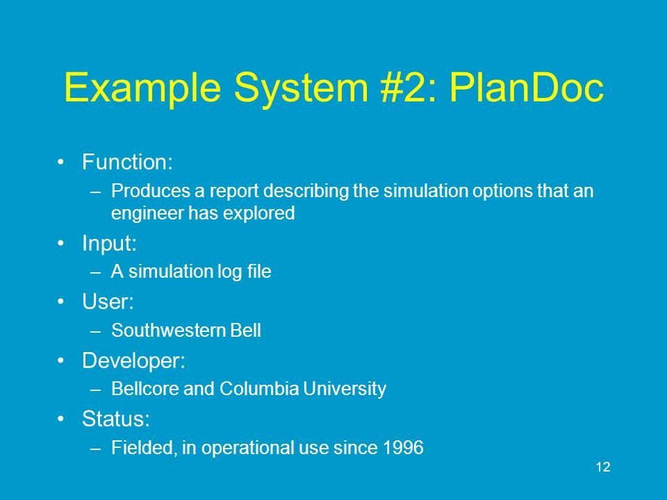 Example System #2: PlanDoc